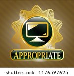 shiny emblem with monitor icon ... | Shutterstock .eps vector #1176597625
