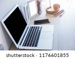 close up modern laptop with... | Shutterstock . vector #1176601855