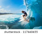 surfer on blue ocean wave in... | Shutterstock . vector #117660655