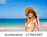 happy beautiful young woman at... | Shutterstock . vector #117661045
