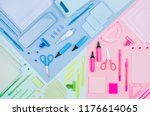 blue  pink  mint color office... | Shutterstock . vector #1176614065