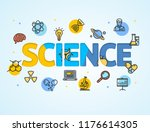 science research template line... | Shutterstock . vector #1176614305