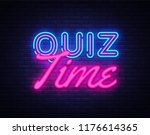 quiz time neon sign vector.... | Shutterstock .eps vector #1176614365