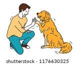young man  kneel down  giving... | Shutterstock .eps vector #1176630325