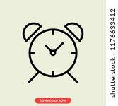 alarm clock concept line icon....