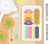 chuseok food  hangwa  songpyeon ... | Shutterstock .eps vector #1176635038