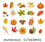 autumn icons set. seasonal fall ... | Shutterstock .eps vector #1176638452
