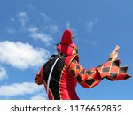 person in a jester costume... | Shutterstock . vector #1176652852