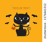 Stock vector vector of halloween black cat and bat doodle 1176661312
