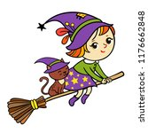 isolated witch and her cat on...   Shutterstock .eps vector #1176662848