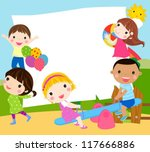 playing kids and frame | Shutterstock .eps vector #117666886
