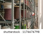 wire harness on factory shelves | Shutterstock . vector #1176676798