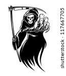 black death monster with scythe ... | Shutterstock .eps vector #117667705