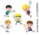 collection of badminton... | Shutterstock . vector #1176683005