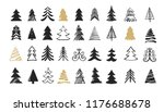 hand drawn christmas tree icons.... | Shutterstock .eps vector #1176688678