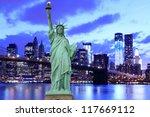 brooklyn bridge and the statue... | Shutterstock . vector #117669112