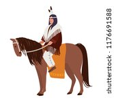 american indian man wearing... | Shutterstock .eps vector #1176691588