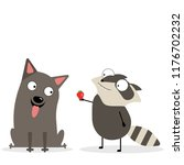 russell terrier and raccoon ... | Shutterstock .eps vector #1176702232