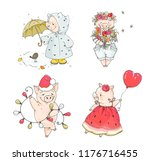 set  of character pigs in... | Shutterstock .eps vector #1176716455