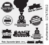 Vector Set: Train and Locomotive Labels and Icons