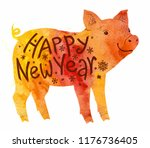 orange watercolor style pig... | Shutterstock .eps vector #1176736405