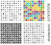 100 landmarks icons set in 4... | Shutterstock . vector #1176737278