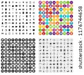 100 interior icons set in 4... | Shutterstock . vector #1176744658