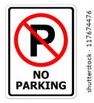 no parking sign on white... | Shutterstock . vector #117674476