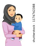 illustration of a muslim mother ... | Shutterstock .eps vector #1176762388