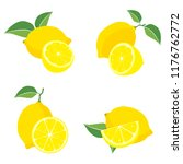 a set of lemons. fresh fruit.... | Shutterstock .eps vector #1176762772
