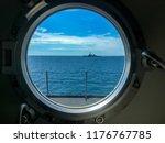 window port of navy ship with... | Shutterstock . vector #1176767785