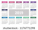 simple calendar for 2019 year.... | Shutterstock .eps vector #1176771298