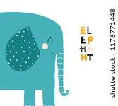 cute cartoon elephant. kids... | Shutterstock .eps vector #1176771448