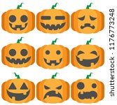 pumpkin face  flat icon style.... | Shutterstock .eps vector #1176773248