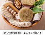 brushes for dry body massage | Shutterstock . vector #1176775645