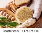 brushes for dry body massage | Shutterstock . vector #1176775648