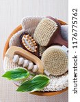 brushes for dry body massage | Shutterstock . vector #1176775762
