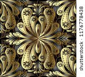 gold vintage floral 3d vector... | Shutterstock .eps vector #1176778438