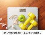 fruit  dumbbell and scale  fat... | Shutterstock . vector #1176790852
