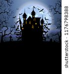 halloween background with scary ... | Shutterstock .eps vector #1176798388