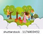 three women harvesting in fruit ...   Shutterstock .eps vector #1176803452