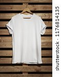 blank white t shirt hanging on... | Shutterstock . vector #1176814135