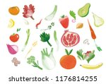 set of fruits and vegetables | Shutterstock . vector #1176814255