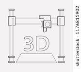 3d printer icon line element.... | Shutterstock .eps vector #1176815902