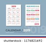 pocket calendar for 2019.... | Shutterstock .eps vector #1176821692