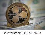 golden ripple coin on us... | Shutterstock . vector #1176824335