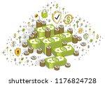 cash money dollar stacks and... | Shutterstock .eps vector #1176824728