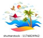 paper ship swimming in sea... | Shutterstock .eps vector #1176824962