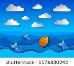 beautiful seascape with funny...   Shutterstock .eps vector #1176830242