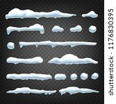 snow caps vector. snowball and... | Shutterstock .eps vector #1176830395